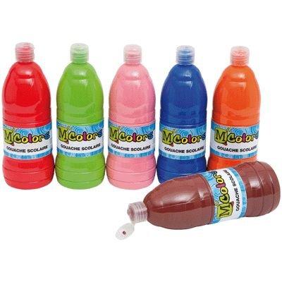 Gouache liquide - Couleurs complémentaires - Carton de 6 flacons de 1 litre
