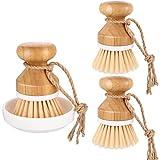 3 cepillos de bambú para limpieza de platos de la palma de la mano, cepillo para limpieza de ollas, sartenes y fregaderos de cocina