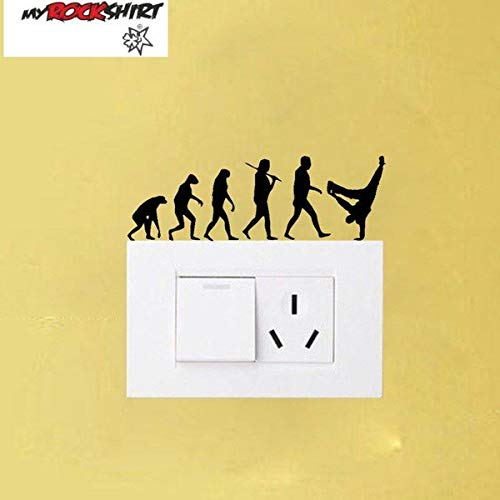myrockshirt Steckdosenaufkleber/Lichtschalter Evolution Breakdance Typ 2 ca.10cm Aufkleber,Sticker,Decal,Autoaufkleber,UV&Waschanlagenfest,Profi-Qualität,Wandtatt