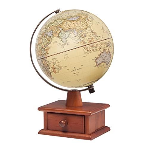 """ZSM Globus LED-Beleuchtete Weltkugel Für Kinder Mit Holzschubladenstand Erhöhte Relief Vintage Weltkugel 20 cm/7,8\"""" Erde Geographie Globus Bildungsweltglobus (Color : World Globe)"""