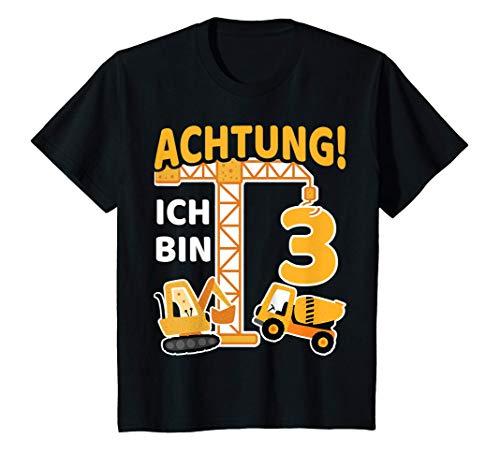 Kinder 3. Geburtstag Bagger 3 Jahre Alt Bauarbeiter Junge Geschenk T-Shirt