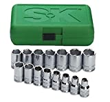 SK 1955 15 Piece 1/2-Inch Drive 6 Point 10-Millimeter to 24-Millimeter Socket Set