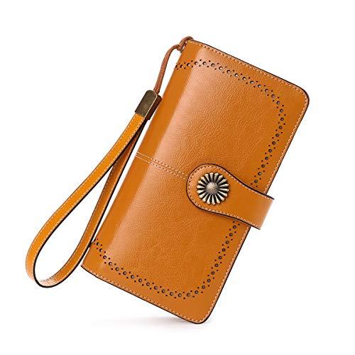 Neusky Damen Leder große Geldbörse, Frauen Leder Geldbeutel Lang Portemonnaie Geldtasche mit 24 Kartenfächer und RFID-Schutz (Gelb)