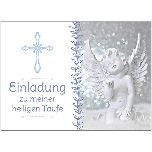 15 x Einladung zur Taufe/Einladungskarten mit Umschlag im Set/Motiv: Kreuz mit Engel Blau/Baby Taufkarte/Grußkarte/Postkarte /