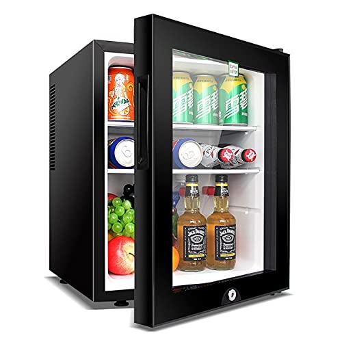 QIU Mini Nevera, refrigerador, refrigerador 40 litros 5 Etapa Temperatura Ajustable Clase silenciosa Habitaciones de Hotel o dormitorios Puerta de Vidrio Transparente