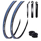 maxxi4you Angebots - Set / 2 x Yaw Nitro 28' Rennradreifen 23-622 (700x23C) blau schwarz blau+ 2 Passende Schläuche SV inkl. 3 Reifenheber
