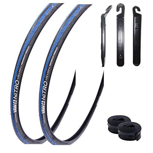 """maxxi4you Angebots - Set / 2 x Yaw Nitro 28\"""" Rennradreifen 23-622 (700x23C) blau schwarz blau+ 2 Passende Schläuche SV inkl. 3 Reifenheber"""