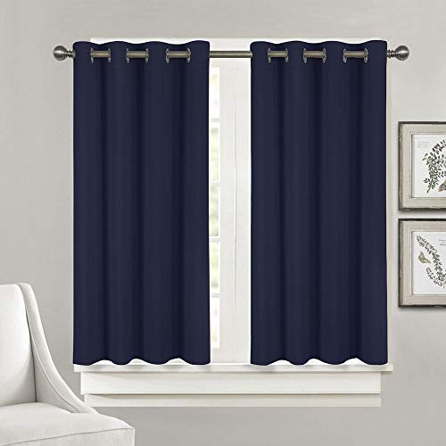 JINAMART 100% Blackout Lined Curtains, 2 Layers Complete with Grommets, Waterproof Darkening Drapes Living Room and Bedroom. Bathroom Curtain. Thermal Insulated -1 Panel (Dark Blue, W52 xL45/each)