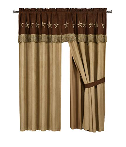 Chezmoi Collection 4 Pieces Western Star Embroidery Design Microsuede Window Curtain/Drape Set Sheer Backing,Tassels, Valance (Curtain Set, Brown/Coffee)
