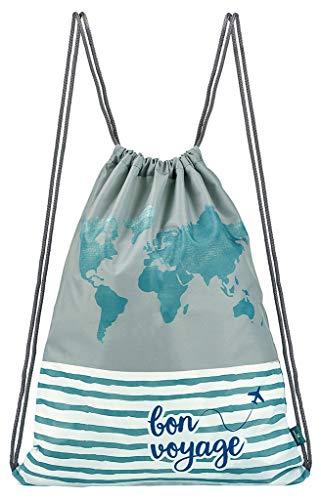moses. Fernweh Rucksack Bon Voyage | Faltbarer Backpack | umweltfreundlich, wasserabweisend Turnbeutel, 42 cm, Grau