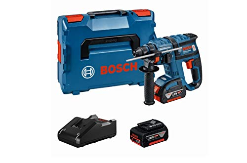 Bosch Professional 18V Akku Bohrhammer GBH 18 V-EC mit SDS-plus 2x 4,0 Ah Akku Ladegerät L-BOXX (18 Volt Schlagenergie: 1,7 J max. Bohr-Ø Stahl: 13 mm)