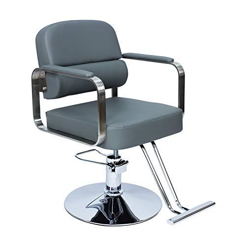SOAR Sillas de barbero Silla de peluquería Barbero Silla de elevación Pequeña Silla giratoria Silla de salón de peluquería Silla de Belleza Simplicidad (Color : Gray)