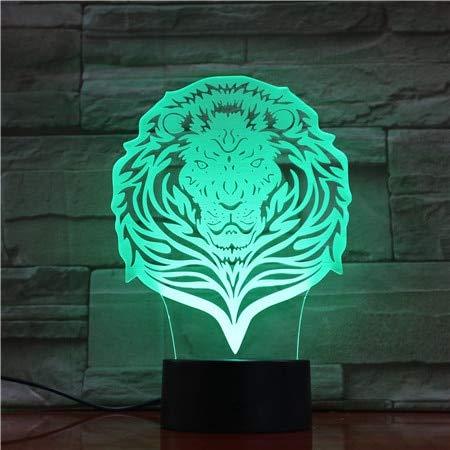 Lion Vision Stereo Acrylic Panel 3D LED Night Light Lámpara de mesa Decoración de cabecera Regalo para niños