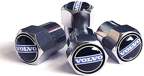 4 Piezas Neumáticos Tapas Válvulas para Volvo S60 S40 V70 XC70 XC90, Antipolvo Tapones de Coche Decoración Accesorios