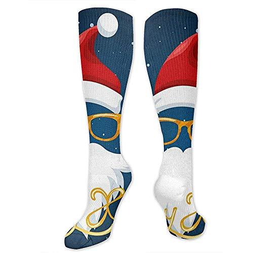 Zome Lag Grappige sokken, atletic Crew sokken, vrijetijdssokken, hardloopsokken, kerstmuts bril en baard poster unisex tennissokken, heren jurk vakantie sokken 50 cm