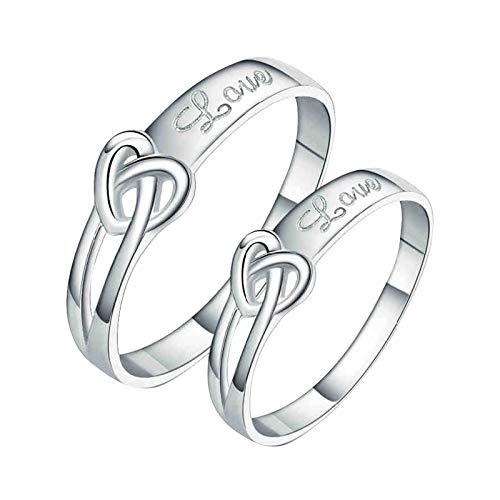 ROMQUEEN Joyería Alianzas de Matrimonio Oro Blanco Anillo de Palta de Ley 925 con Circón Alianzas de Hombre Oro Blanco Alianzas de Parajas de Plata