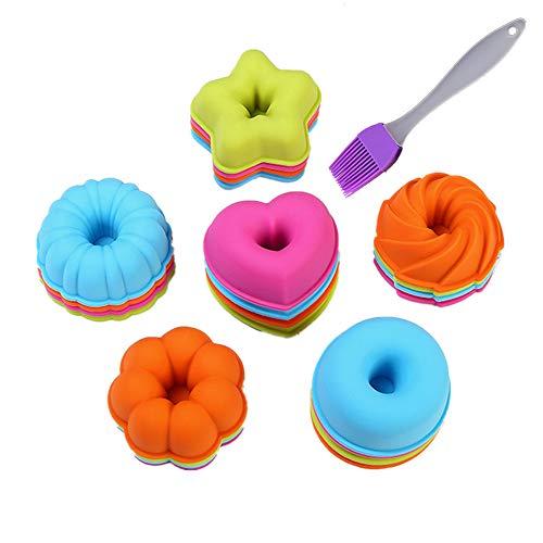 Stampi per dolci ciambella a 24 pezzi Set di KeepingcooX - Stampo per dolci al silicone fluted, Tazze per dolci - Zucca, stella, fiore, cuore, forme di savarin Stampi per mini torte