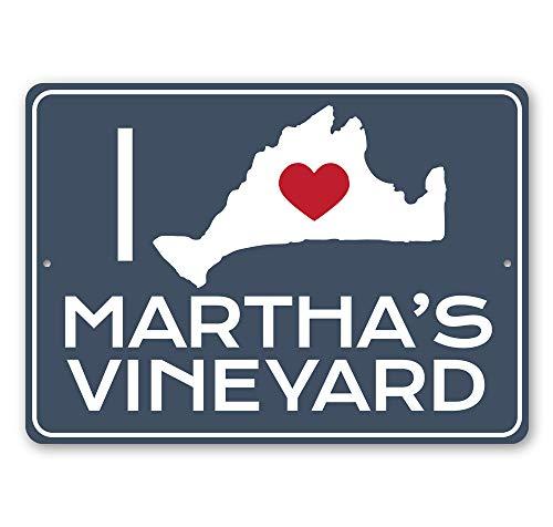 I Love Martha's Vineyard, Beach Sign, Island Outline Sign, Beach-Lover Gift Sign Idea Aluminum Sign - 24' x 36'