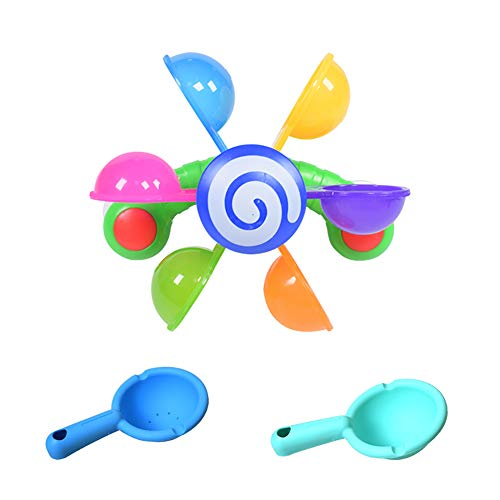 KLJHMAP del baño del bebé, Juguetes de baño del Molino de Viento Rueda hidráulica + 2pcs Cuchara Conjunto de Juguete Juguetes de Agua para los niños pequeños para niños Bebés Niños Niñas