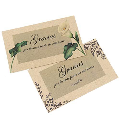 """50 Tarjetas de agradecimiento boda Español, detalles de boda""""Gracias"""", etiquetas carton kraft 17x9 cm"""