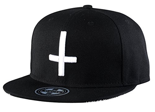 Aivtalk Hip-Hop Baseball Cap Kappe Mütze Unisex Snapback Verstellbare Baseballcap Original Kreuz Gedruckte Basecap - Schwarz