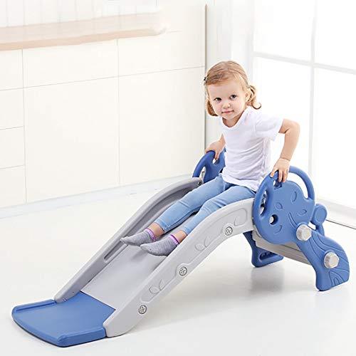 MOKY Far Deslizar Niños Plegable, Juguete de plástico independiente con subir las escaleras, los niños del niño Primera diapositiva para interiores y exteriores, Azul