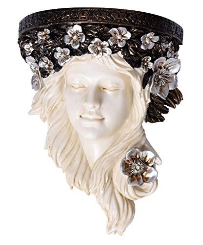 Wandkonsole Mädchenkopf im Jugendstil mit Blumenkranz Wandskulptur im Jugendstil IS009 Palazzo Exklusiv