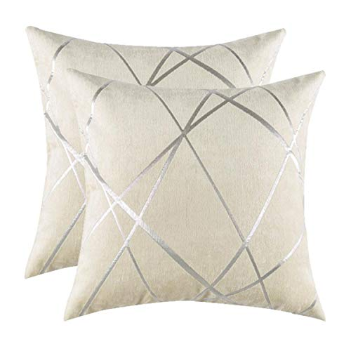 Gigizaza Cushion Covers 50 x 50 cm Cream Square Chenille Decorative 20 x 20 Inch Pillowcases for Sofa Bedroom Living room Set of 2