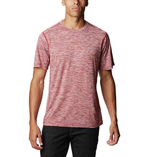 Columbia Men's Deschutes Runner Short Sleeve Shirt, Vented, Quick Drying, Red Velvet Heather, X-Large