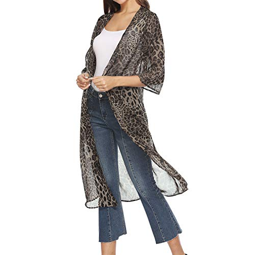 LAEMILIA Damen Jacke Kinomo Leopardmuster Transparent Lang Weite Halbarm Offene Sommer Strand Poncho Fashion Mode Mantel Outfit