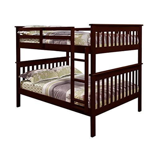 StarSun Depot Solid Wood Full Over Full Bunk Bed in Cappuccino Finish