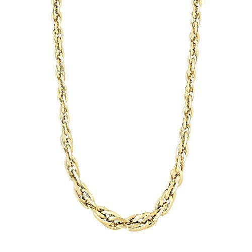 14 Karat Gelbgold, 3 10 mm glänzende ovale Gliederkette mit Karabinerverschluss, Schmuck Geschenke für Frauen – 46 cm
