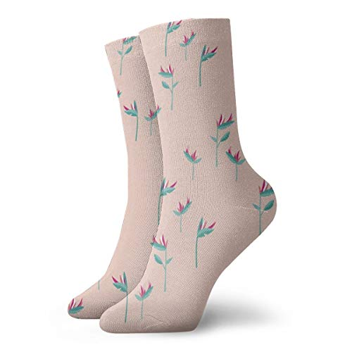 socken frauen 39,Paradiesvögel Botanischer Blumengarten Hawaii Summer Minimal Pink Blue_4242,100% Baumwolle Rutschfeste für Männer,Frauen,15.7 Zoll,eine Größe.