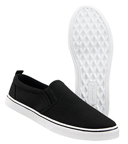 Brandit Southampton Slip on Sneaker, schwarz Mir weißer Sohle, EU43