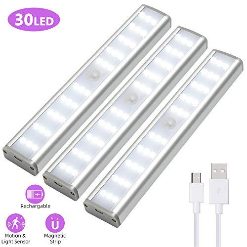 LED Schrankleuchte, Led Schrankbeleuchtung Mit Bewegungsmelder, Unterschrank-Beleuchtung, 30 Super hell kabellose LED-Lichter, Tragbar, Wiederaufladbar, Schrank Flur Treppen Kleiderschrank, 3er-Pack