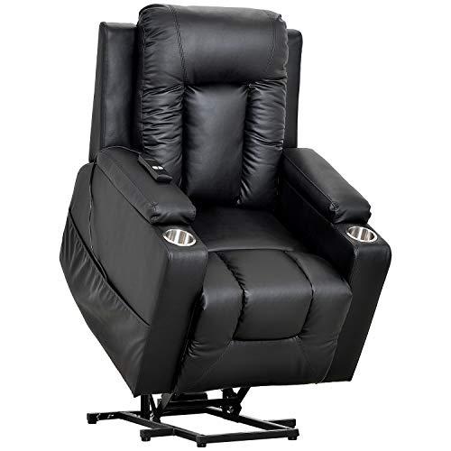 ADIBY Power Lift Recliner Chair Sofa,Elektrischer Fernsehsessel Aufstehsessel Relaxsessel Sessel mit Aufstehhilfe,Einzelsofa Sessel Leder Sofa für Home Lounge Gaming Cinema(Schwarz)