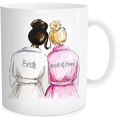 Wedding Cup for Maid Of Honor from Bride,Funny Coffee Mug Tea Cup , 11-OZ , Fine Bone China Ceramic , White