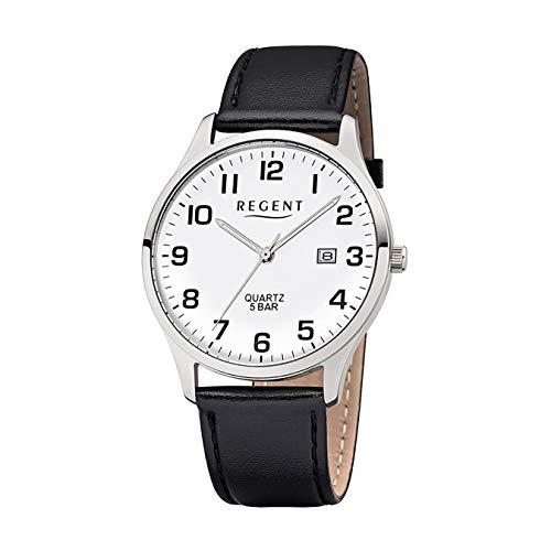 Regent Herrenuhr mit Lederband Schwarz/Weiß F-1241