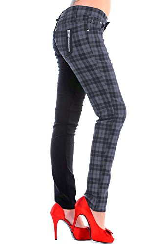 Schottenkaro Damen Skinny Hose schwarz / grau - S - Banned