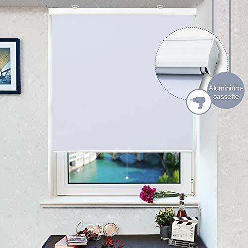HOMEDEMO Springrollo mit weißer Aluminiumkassette (140x230cm, Weiss) Schnapprollo Mittelzugrollo Thermo Verdunklungsrollo für Fenster zum Bohren Hitzeschutz und Sonnenschutz