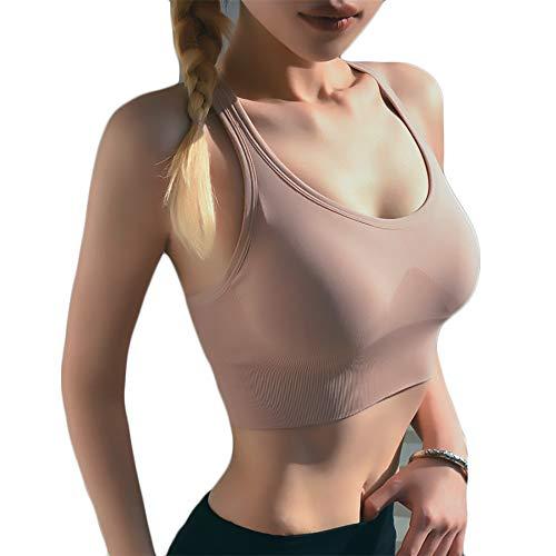 Mazo Barra Deportiva A Prueba De Golpes Comprender para Mujeres Gym Yoga Vest para Fitness Sin Acero (XL,Pink)