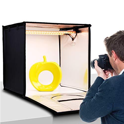 50cm Caja de Luz Fotografía, Color y Brillo Ajustable - amzdeal 126 LED Photo Studio Portátil, 95Ra, 12000LM, 2 Filtros-Amarillo 3200K, Blanco 5500K, 4 Fondos (Gris, Blanco, Negro, Naranja)