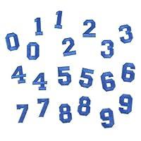 Lellee 刺繍 数字アップリケ・ワッペン ブルー 青文字 0~9 x 2組 (20枚) blue