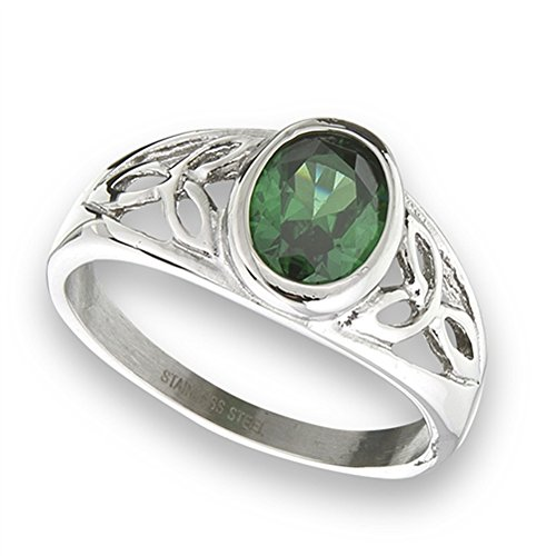 Simulated Emerald Celtic Filigree Trinity Knot Ring New Stainless Steel Band Size 7
