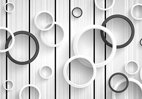 wandmotiv24 Fototapete Grau 3D weiß, L 300 x 210 cm - 6 Teile, Fototapeten, Wandbild, Motivtapeten, Vlies-Tapeten, Holz, Wand M4199