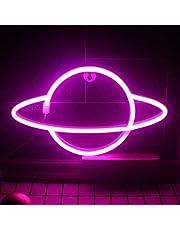 QiaoFei Led Planet Neon Signs Roze Kids Neon Lights Decoratieve Wandborden, Batterij of USB Operated Lamp voor Feestbenodigdheden Kamer Muur Art Decoratie (Roze)