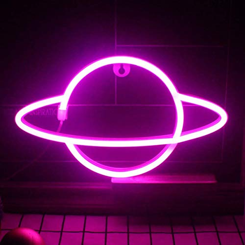 QiaoFei Led Planet Neon Light Decorative Signs Wall Decor, Battery or USB Operated Lamp Planet Neon Signs for Baby Kids Friends Birthday Gifts -Pink