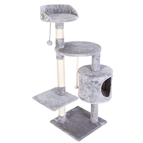 jixi Katzenbaum Katzenturm, Katzenbaum mit geräumigen Sitzstangen aus Plüsch, mehrstöckige Spielturm mit Kratzstämmen