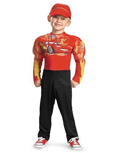 DISNEY CARS - Lightning McQueen Kinderkostüm - Kostüm Deluxe mit Muskeln & Mütze - Gr. 122-128 (US 7-8)