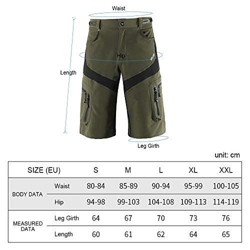 Lixada Men's Cycling Shorts Quick Drying Mountain Bike Sport Shorts Breathable Design Shorts for Outdoor Running Riding Gym Training Casual Shorts with 6 Pockets Blue